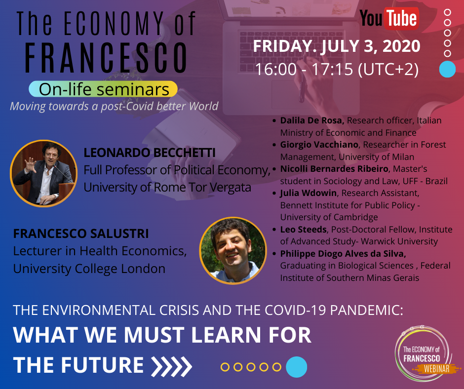 #EoF - 03/07/2020, On-life seminar with Leonardo Becchetti and Francesco Salustri