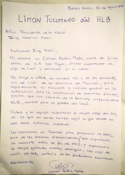 Carmen Bollea Lettera Macri rid