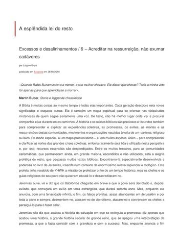 2018_10_22_Excessos e desalinhamentos 9_Esplendida lei do resto_Luigino Bruni_Avvenire