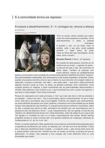 2018_09_09_Excessos e desalinhamentos 2_E a comunidade tornou-se regresso_Luigino Bruni_Avvenire