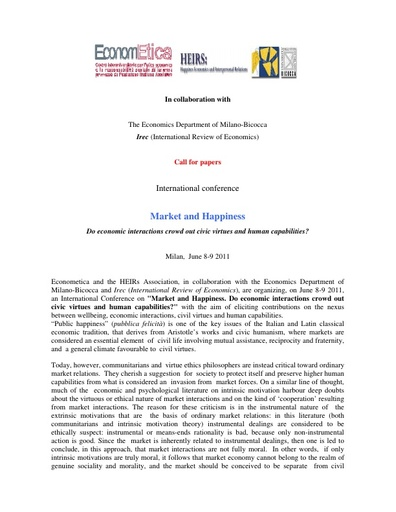 Call for papers Market & Happiness