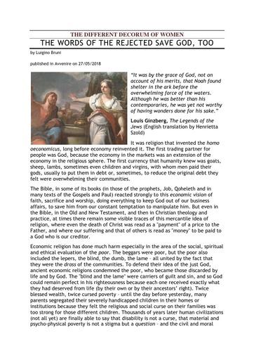 180527 Avvenire The Different Decorum of Women