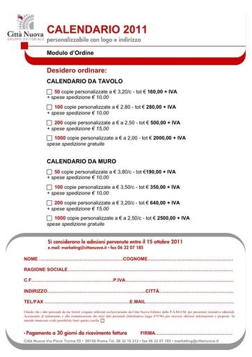 Modulo d'ordine CALENDARIO EdC 2011
