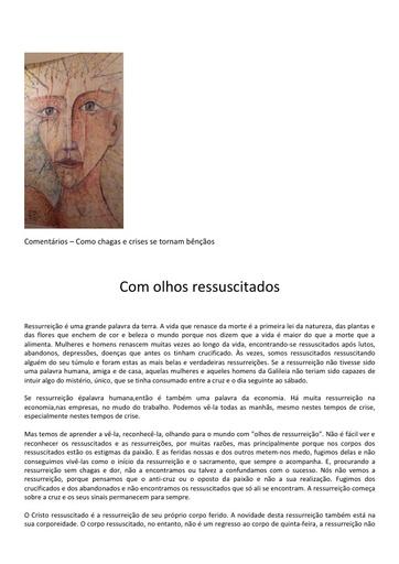 2016 03 27 Comentários Como chagas e crises se tornam bênçãos Com olhos ressuscitados LBruniAvvenire