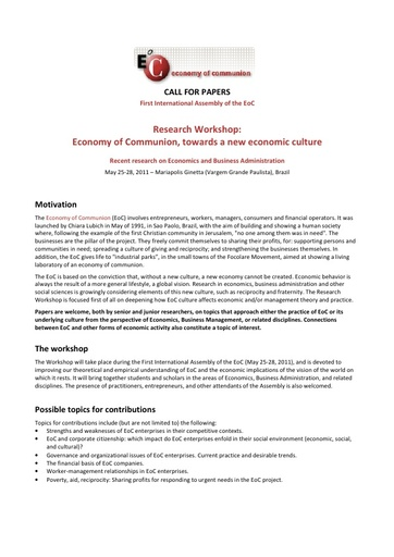 Call for papers Economy of Communion, towards a new economic culture